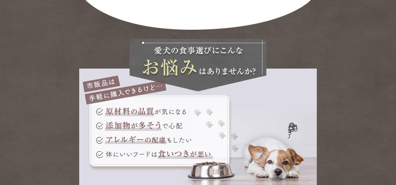愛犬の食事選びにこんなお悩みはありませんか?
